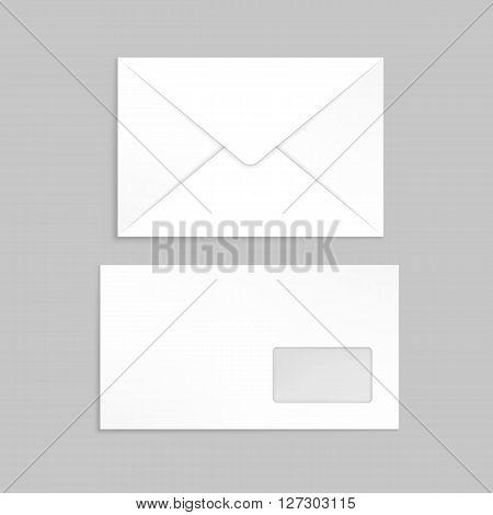 Two white envelopes for identy design. Blank envelopes on gray background