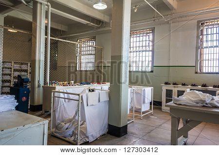 San Francisco, CA, May 13 2015: Alcatraz penitentiary interior bathing facilities