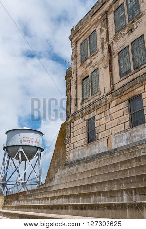 San Francisco, CA, May 13 2015: Alcatraz penitentiary exterior exercise area