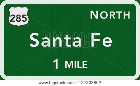Santa Fe Usa Interstate Highway Sign