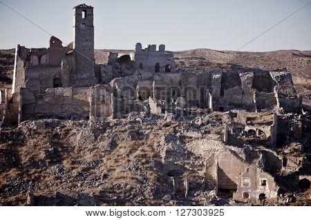 Roden village destroyed in a bombing during the Spanish Civil War, Saragossa, Aragon, Spain