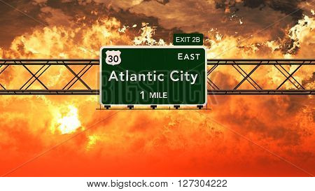 Atlantic City Usa Interstate Highway Sign In A Beautiful Cloudy Sunset Sunrise