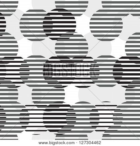Colorful vector geometric seamless pattern. Repeating abstract circle gradation pattern in black, white, gray. Modern texture, pattern design