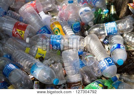 RAYONG THAILAND - APRIL 12 2016 : Plastic bottles in Rayong. The plastic is gathered to be recycled.