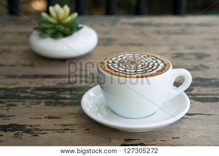 Cups Of Mocha Coffee On Wooden Tablee