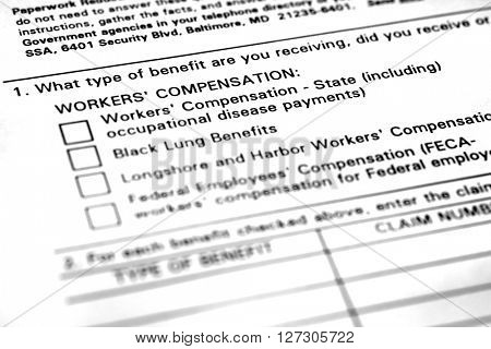Worker's Compensation Form for Benefits Injured Worker