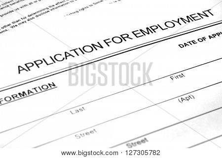 Application for employment on paper form seeking a job