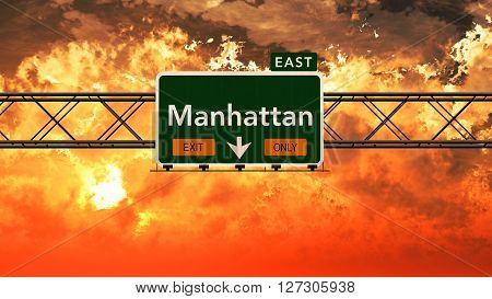 Manhattan Usa Interstate Highway Sign In A Beautiful Cloudy Sunset Sunrise