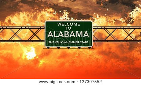 Welcome To Alabama Usa Interstate Highway Sign In A Breathtaking Cloudy Sunset