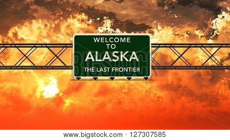 Welcome To Alaska Usa Interstate Highway Sign In A Breathtaking Cloudy Sunset