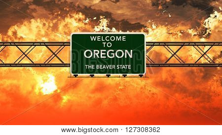 Welcome To Oregon Usa Interstate Highway Sign In A Breathtaking Cloudy Sunset