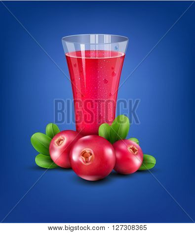 glass cup with juice of cranberries on a blue background