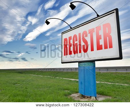 register now member registration road sign membership billboard