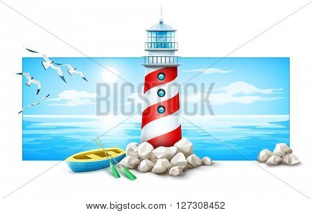 Banner with lighthouse and boat at stones island. Sea sunset panorama ocean skyline vector illustration. Isolated on white background