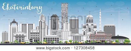 Ekaterinburg Skyline with Gray Buildings and Blue Sky. Vector Illustration. Business Travel and Tourism Concept with Modern Buildings. Image for Presentation Banner Placard and Web Site.