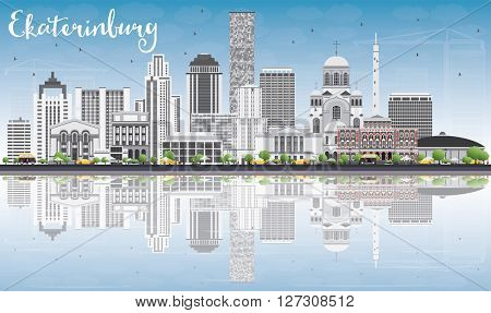 Ekaterinburg Skyline with Gray Buildings, Blue Sky and Reflections. Vector Illustration. Business Travel and Tourism Concept with Modern Buildings. Image for Presentation Banner Placard and Web Site.