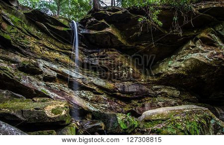 Red River Gorge Waterfall Kentucky. Roadside waterfall in the Red River Gorge recreation area in the Daniel Boone National Forest.
