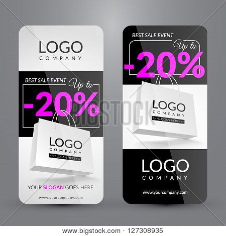 Big sale event. Set with banner. Corporate identity. Vector illustration. EPS 10