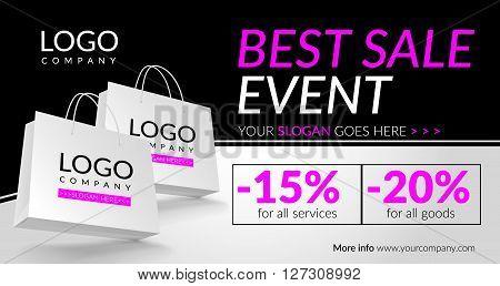 Best sale event. Corporate banner. Vector illustration. EPS 10