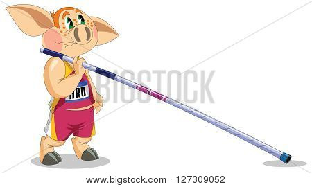 little piggy is a pole-vaulter at competitions