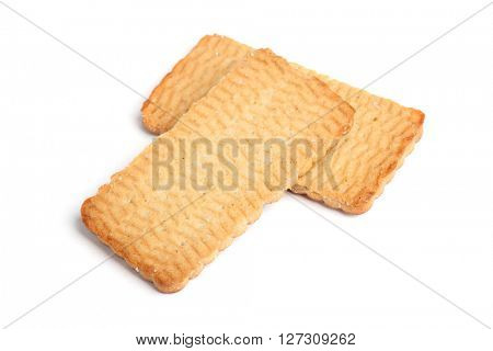 Flat cookies isolated on white background