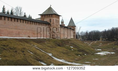 Veliky Novgorod, Russia - March 12, Novgorod Kremlin in the spring, March 12, 2016. Types of towers and walls of Kremlin in Veliky Novgorod.