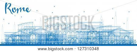 Outline Rome skyline with blue landmarks. Vector illustration. Business travel and tourism concept with historic buildings. Image for presentation, banner, placard and web site.