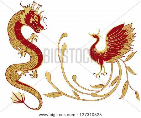Dragon and phoenix for symbolism in traditional Chinese wedding and marriages isolated version