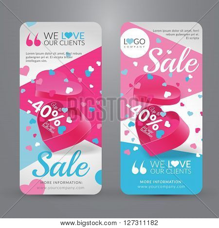 Sale event. Set with banner for website with gift box in shape of heart with confetti. Vector illustration. EPS 10