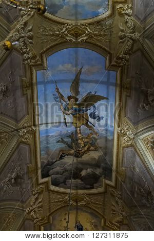 Menton, France - May 21: This is huge religious picture on the church ceiling of the Basilica of St. Michael the Archangel May 21, 2015 in Menton, France.