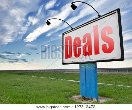 Deals great special sales offer road sign billboard.