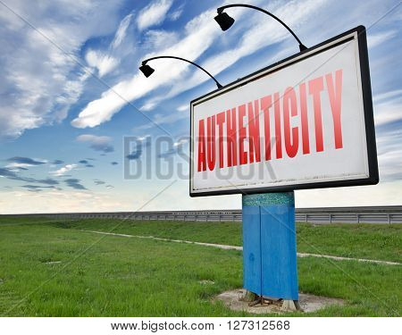 authentic quality guaranteed label authenticity guarantee assurance label for highest product control, road sign billboard.