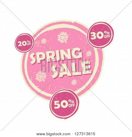 spring sale and 20 30 50 percentages off banner - text in pink circular drawn label business seasonal shopping concept