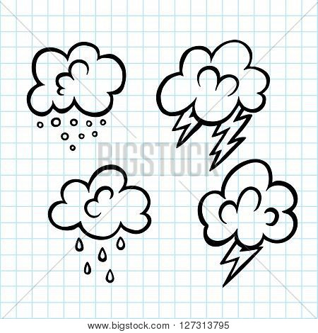 Ink hand drawn cartoon vector cloud doodle icon. sketch kind of weather like snow lighting cloudy and rain design element