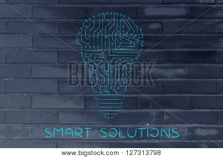 Lightbulb Made Of Electronic Circuits, Smart Solutions