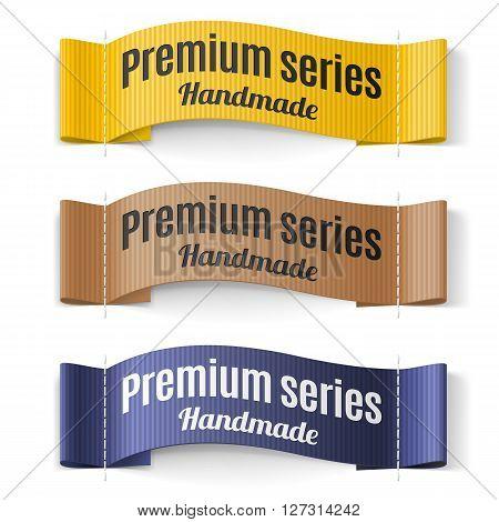 Set of Labels Premium series hand made yellow brown purple