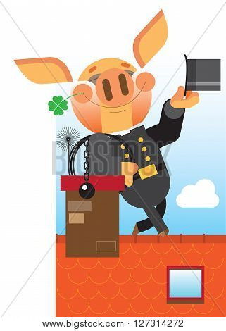hilarious pig stands on the roof chimney sweep