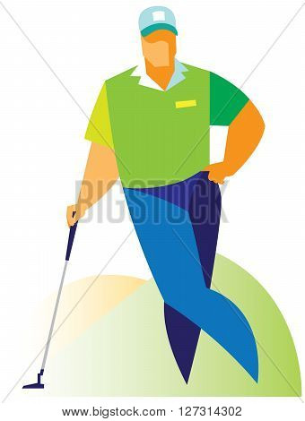young golfer standing on the floor and rests on a golf club