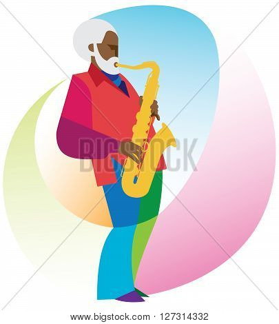 gray-haired African American man is a saxophonist
