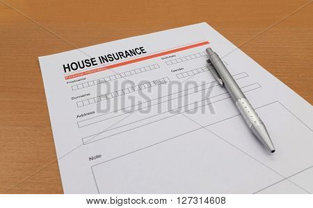 House Insurance application form, security, business, defense