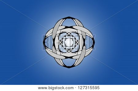 abstract geometric polygon volume type interlocking of surfaces and faces against the blue gradient
