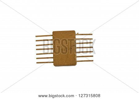 An old microchip on the white background
