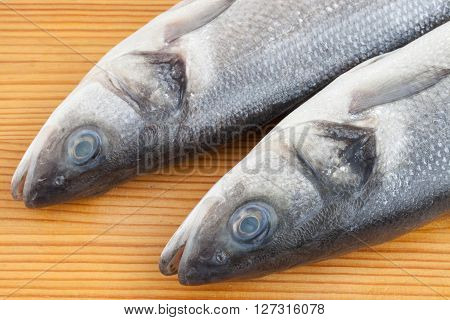 Fresh seabass fish on the wooden table
