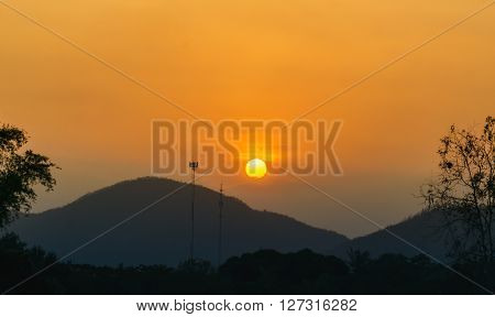 Mountain and Sunset landscape view on Kaeng Krachan National Park Thailand