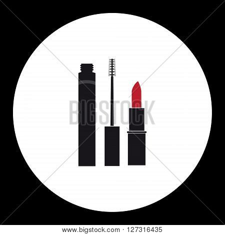 Simple Ladies Cosmetics Make-up Isolated Icon Eps10