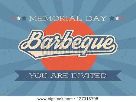Memorial Day background. Vector illustration with text and ribbon for retro posters flyers decoration. Barbeque invitation.