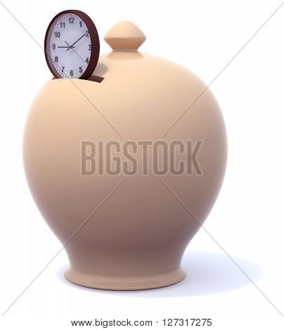 Money Box And Clock. Save Time Concepts