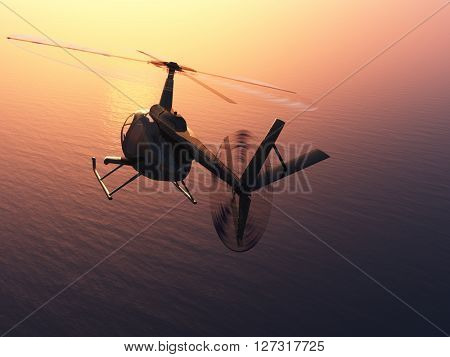 Helicopter over the sea.3d render