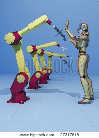 The robots and cyborg on a blue background.,3d render
