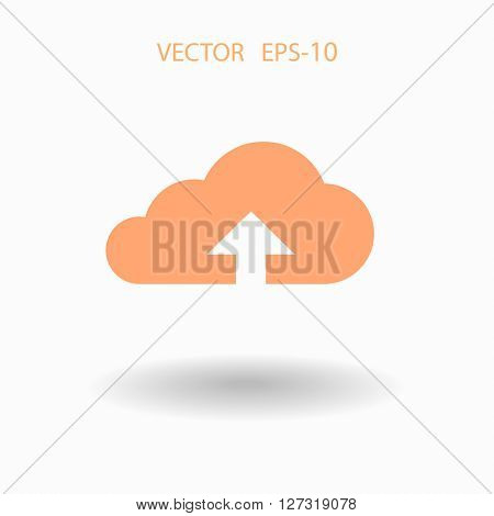 Flat icon of upload cloud
